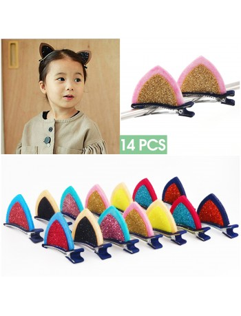 2 inch Felt Cat Ears Hair Clip, Glamfields 14pcs Cute Glitter Sparkly Small Hair Barrettes for Toddlers Girls Kids Party Cosplay