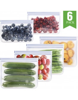 6pack reusable food storage bags - Glamfields BPA Free Leak-proof Snacks Bags for kids Adult Lunch | Freezer | Fruit | Travel - FDA Certified